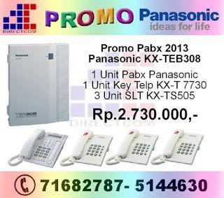 """PROMO PABX PANASONIC 2013"" untuk seri Panasonic KX-TEB 308. Dapatkan segera sebelum kehabisan, Promo berlaku mulai dari 7-31 Januari 2013."