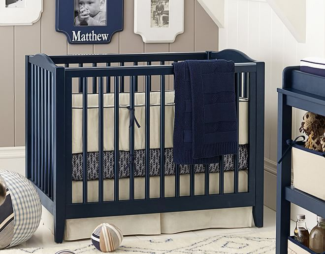 Navy Linen Mini Crib | Pottery Barn Kids