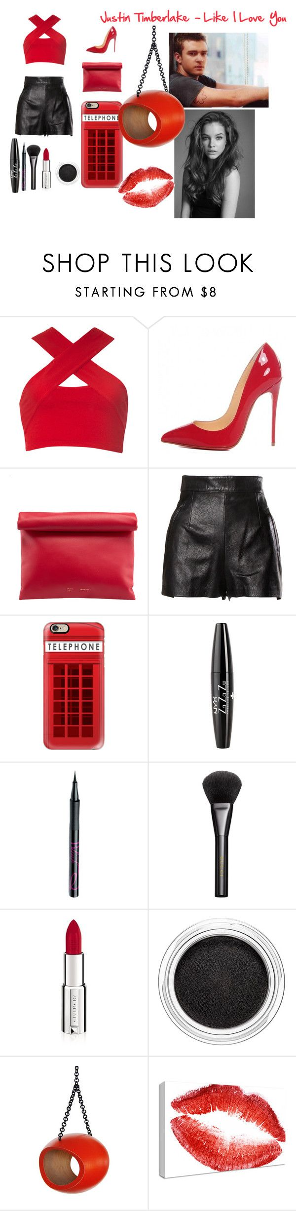 """Justin Timberlake - Like I Love You"" by sofy-styles1 ❤ liked on Polyvore featuring Motel, Christian Louboutin, Moschino, Casetify, NYX, Barry M, Gucci, Givenchy, Clarins and Britney Spears"