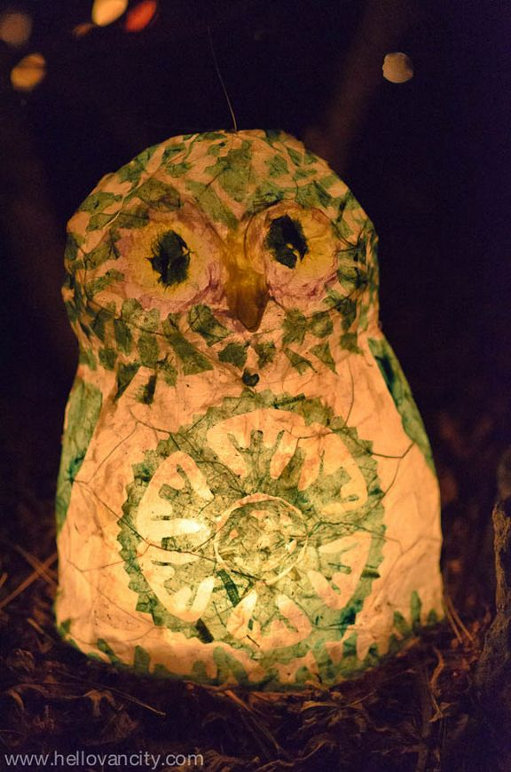 Paper owl lantern at Vancouver's Winter Solstice Lantern Festival in partnership with the Secret Lantern Society at the Dr. Sun Yat-Sen Classical Chinese Garden