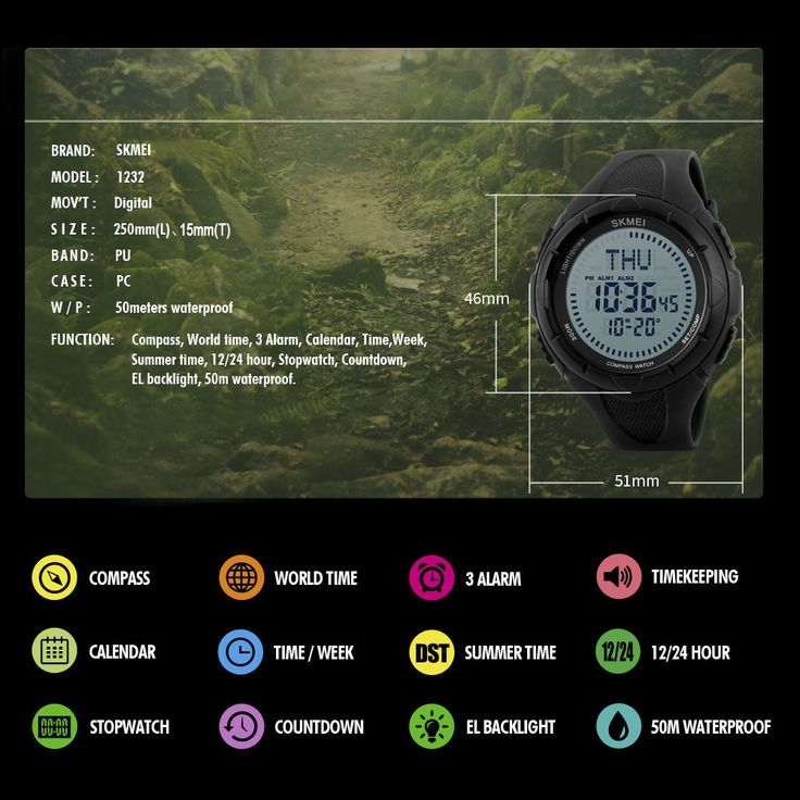 Only US$17.15, black SKMEI 5ATM Water Resistant Unisex Digital Sports Watch - Tomtop.com