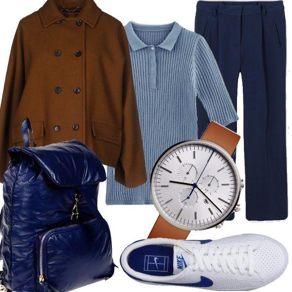 Outfit perfetto per mamme che devo scattare dall'ufficio all'uscita di scuola e poi al parchetto. Scarpe comode, zaino capiente , pantaloni confortevoli a 7/8, un capo spalla leggero ma già sufficientemente caldo per i primi freddi e un magnifico orologio. La particolarità di questo outfit è che è composto da elementi semplici facilmente riutilizzabili in altri abbinamenti.