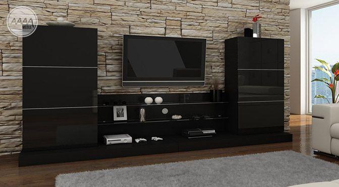 Stylowe czarne meble do salonu #nowoczesnemeble #mebledosalonu #meble #minimalistycznemeble #mebleniemieckie #dom #aranzacjedom #aranzacje