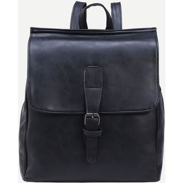 Black Buckled Strap Front Flap Backpack ($13) ❤ liked on Polyvore featuring bags, backpacks, backpack, black, polyurethane bags, vintage backpacks, strap backpack, knapsack bag and rucksack bag