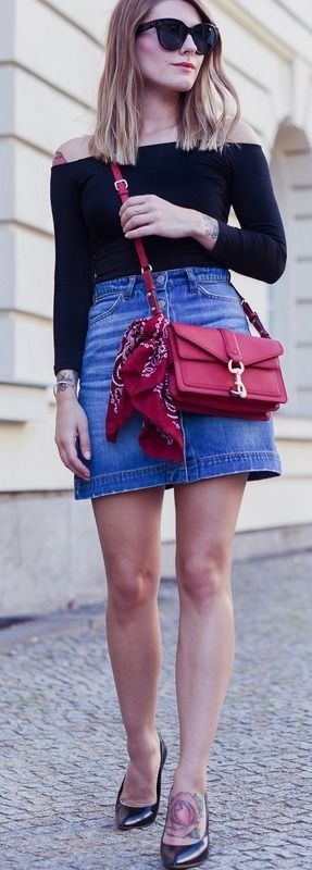 denim and a pop of red. - Hoard of Trends - Fashion Blog #denim