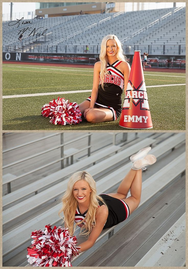 Click the pic for 25 more photos of a beautiful Texas high school senior cheerleader full of spirit and spunk, Flower Mound, Dallas Photographer, field, bleachers