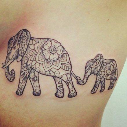 Trendy Tattoo Elefant Familie Liebe Stämme Ideen