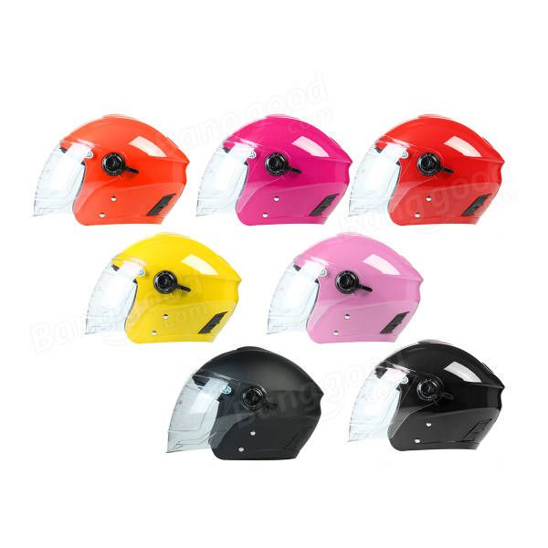 Motorcycle Open Face Helmet W/ Dual Visors Motorcross Cycling Scooter 54-59cm Matt Black Red White