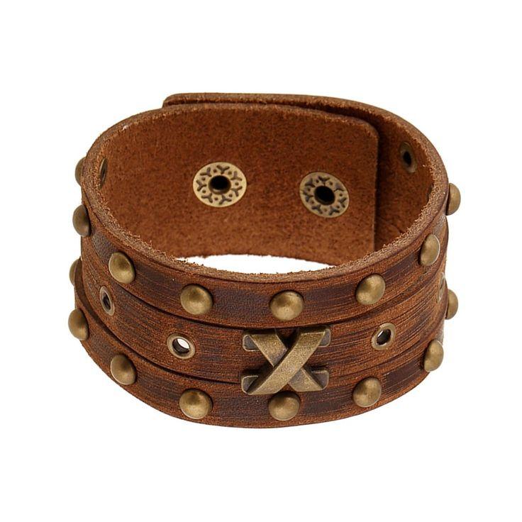 Brown Vintage Leather Cuff Bracelet 'X'