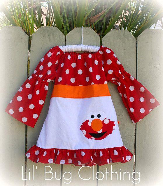 Custom Boutique Clothing Elmo Sesame Street Fall Peasant Dress Birthday Girl via Etsy