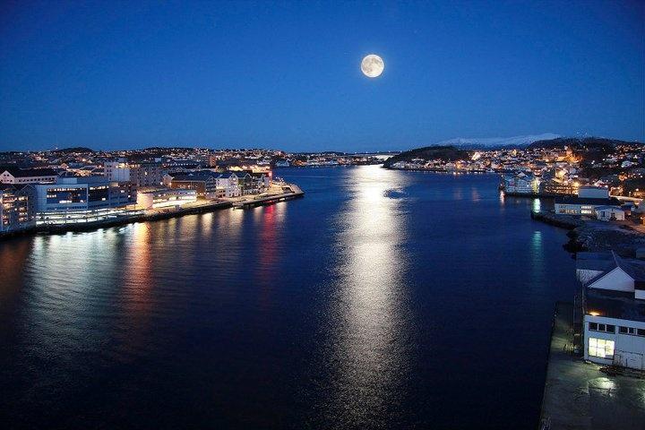 Kristiansund Harbor by night