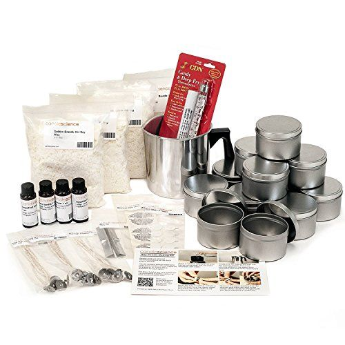CandleScience Soy Candle Making Kit - The kit includes everything you need to make 12 Scented Soy Wax Candles. No experience necessary! Ideal for beginner candle makers.