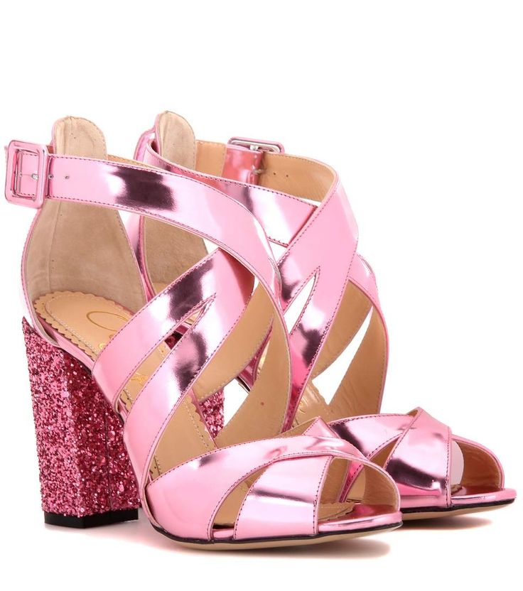 Charlotte Olympia Woman Barbie Patent-leather And Mesh Sandals Pink Size 36.5 Charlotte Olympia NjAigl