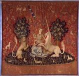 "Unicorns, Monkeys, Tapestries and Trinkets: The Charms of Paris' Medieval Museum: The ""Sight"" panel from tapestry, ""The Lady and the Unicorn"", Flanders, 15th century."