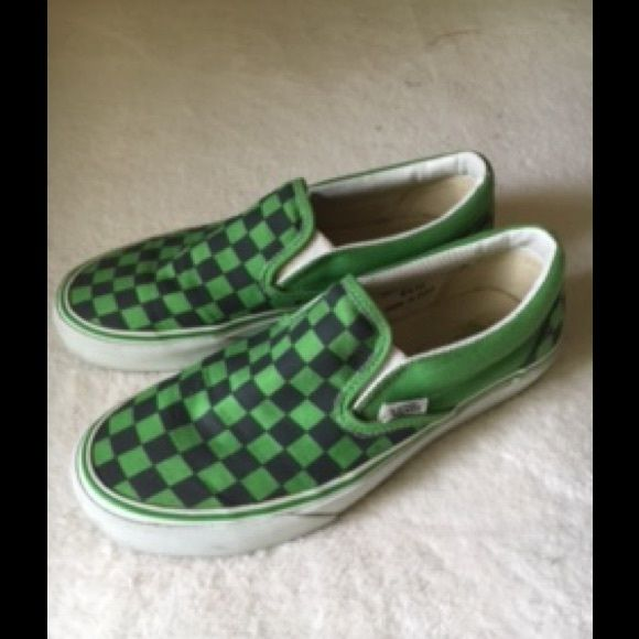 Vans slip on shoes Vans - classic slip on, checkerboard, green & black. Gently worn in good condition.  Size W's 7.5. Vans Shoes Sneakers