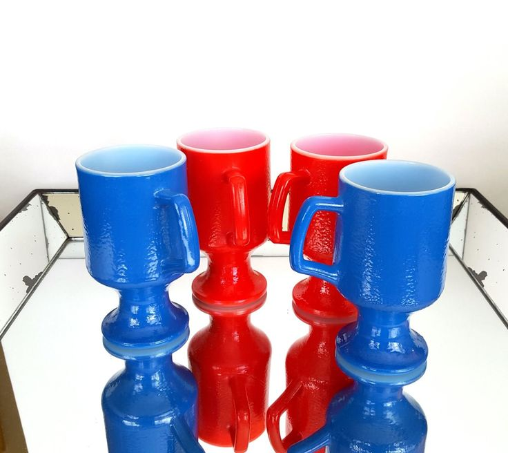4 Red And Blue Milk Glass Coffee Cups Set of (4) Vintage Pedestal Tea Mugs Red State Blue State by Pesserae on Etsy