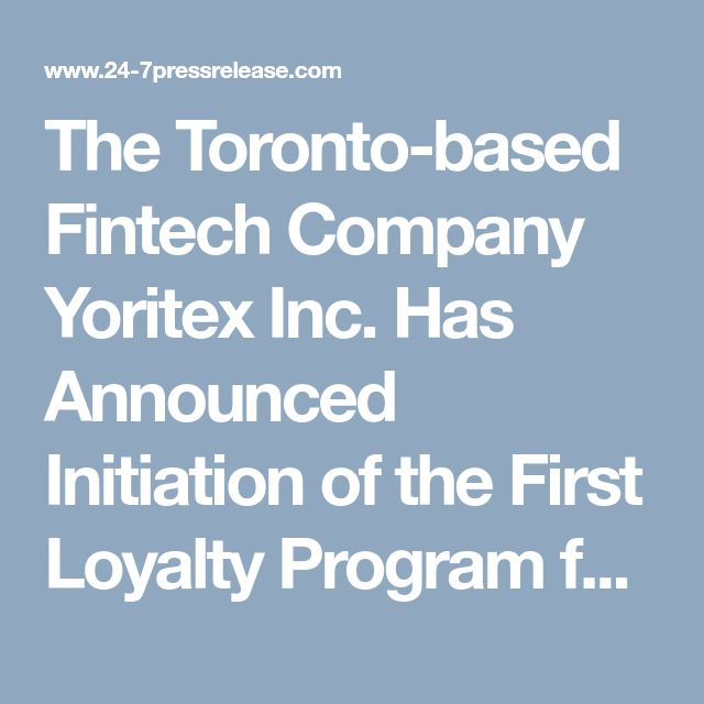 The Toronto-based Fintech Company Yoritex Inc. Has Announced Initiation of the First Loyalty Program for All ICO Participants #YoritexICO #SimcoePay #news #bitcoin #finance #blockchain #fintech #cryptocurrency #ethereum #crowdsale