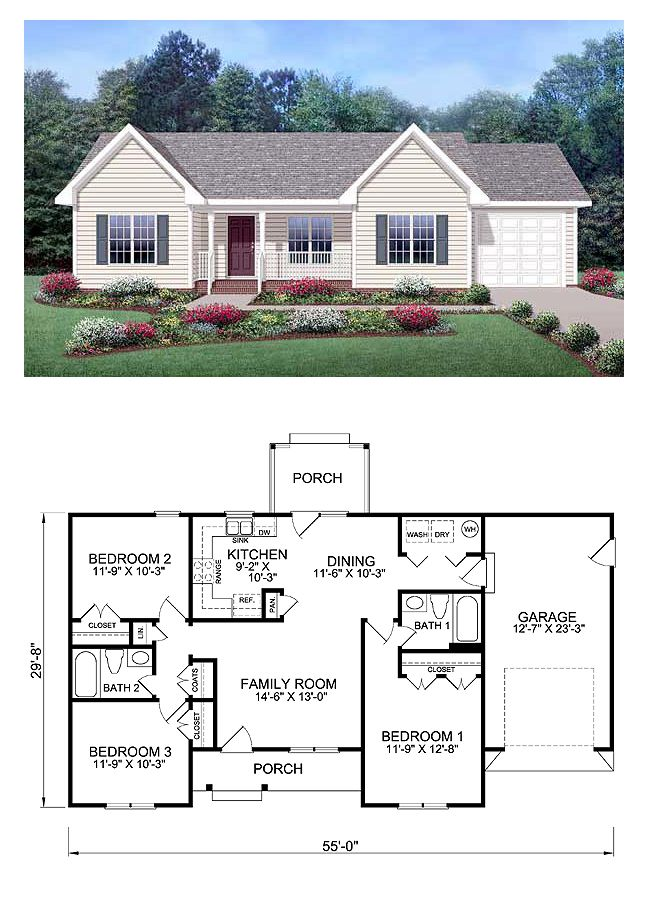 Ranch Style COOL House Plan ID: chp-39172 | Total Living Area: 1150 sq. ft., 3 bedrooms & 2 bathrooms. With its built-in personality and charming style, this three-bedroom home will warm your heart as it gives happy sanctuary to your family. All it needs is your personal touch to make it your enjoyable abode for years to come.  #houseplan #ranchstyle