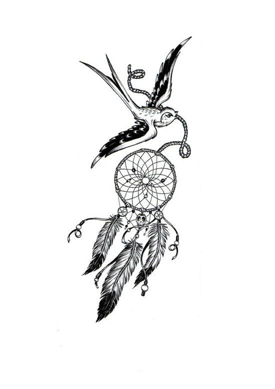 Ultra-book de amelieferrero Portfolio : Illustrations personnelles : tatouage hirondelle, dreamcatcher