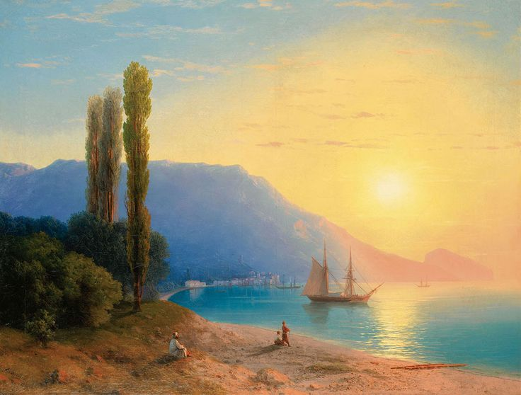 Ivan Konstantinovich Aivazovsky. Sunset over Yalta, Original Size: 67 x 89 cm, Date: 1861. Buy this painting as premium quality canvas art print from Modarty Art Gallery. #art, #canvas, #design, #painting, #print, #poster, #decoration