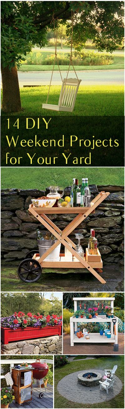 14 DIY Weekend Projects for Your Yard.  This is what weekend warriors dream of all week.  The DIY projects are easy projects that solve your everyday yard inconveniences.