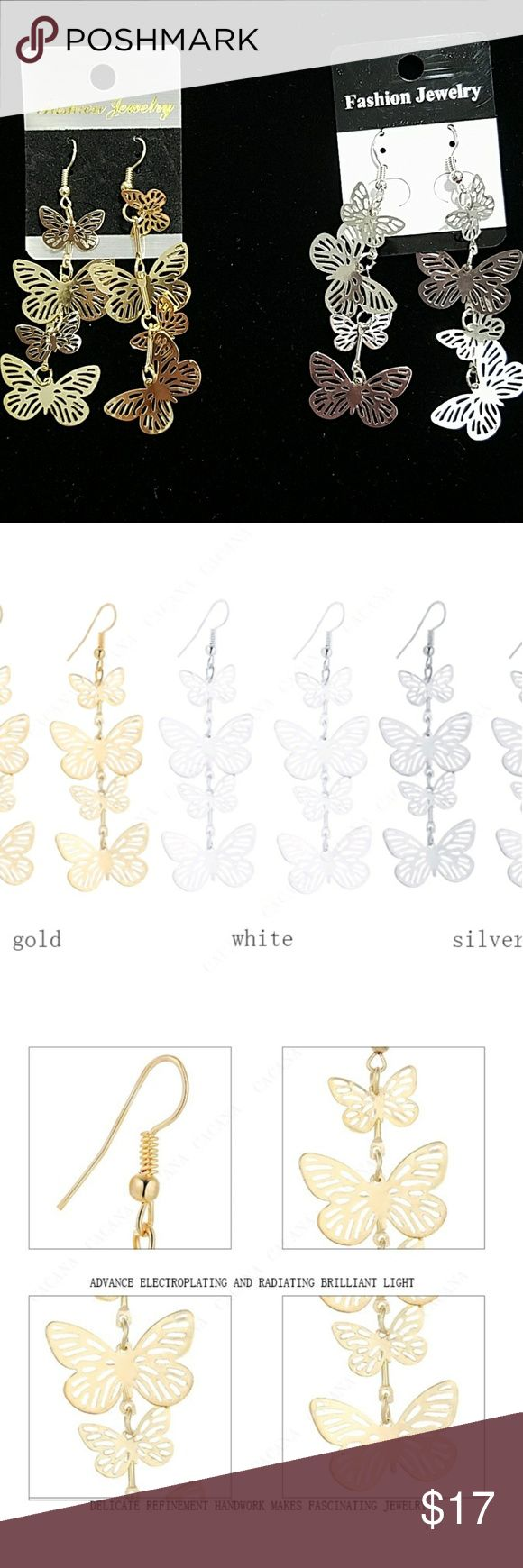ANY 4 PAIRS FOR $15! DANGLING BUTTERFLY EARRINGS!! Design consists of 4 butterflies. Earrings are not heavy so they won't make you feel weighted down & no worries about stretching out your earlobes! Earrings are thin, lightweight Alloy metal. They are priced great! Bundle & save on shipping! Choose Gold or Silver in Options. Once you add 4 pairs to your bundle, submit offer for $15 & it will be accepted! Gold stock# 117 Silver Stock # 217 Jewelry Earrings