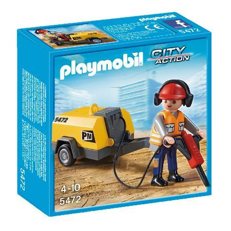 PLAYMOBIL Construction Worker with Jack Hammer The Playmobil Construction Worker with Jack Hammer includes a generator and jack hammer for the construcion worker to use on site. (Barcode EAN=4008789054722) http://www.MightGet.com/february-2017-3/playmobil-construction-worker-with-jack-hammer.asp