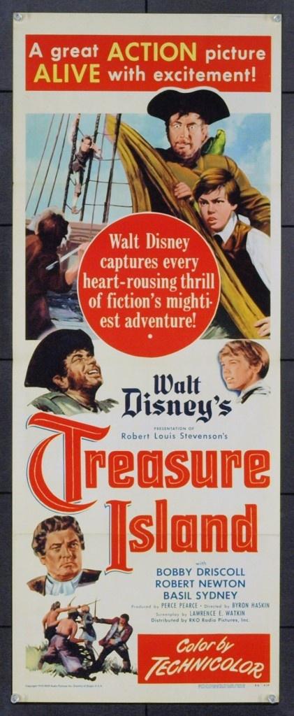TREASURE ISLAND (1950) - Bobby Driscoll - Robert Newton - BasIl Sydney - A Walt Disney Presentation - Based on novel by Robert Louis Stevenson - Directed by Byron Haskin - RKO-Radio Pictures - Insert Movie Poster.