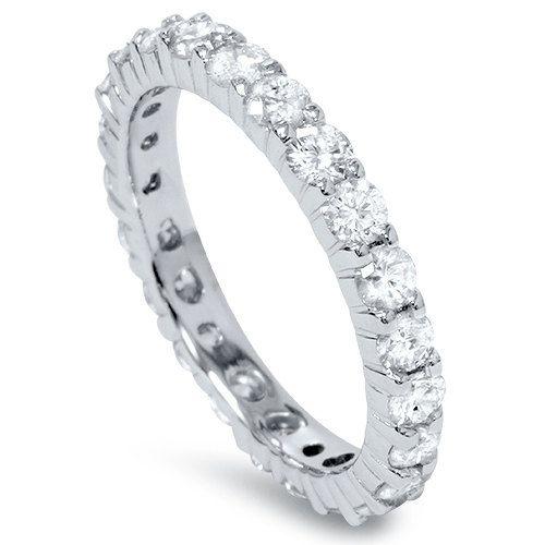 1.00CT Diamond Eternity Band Ring 14 KT White Gold by Pompeii3