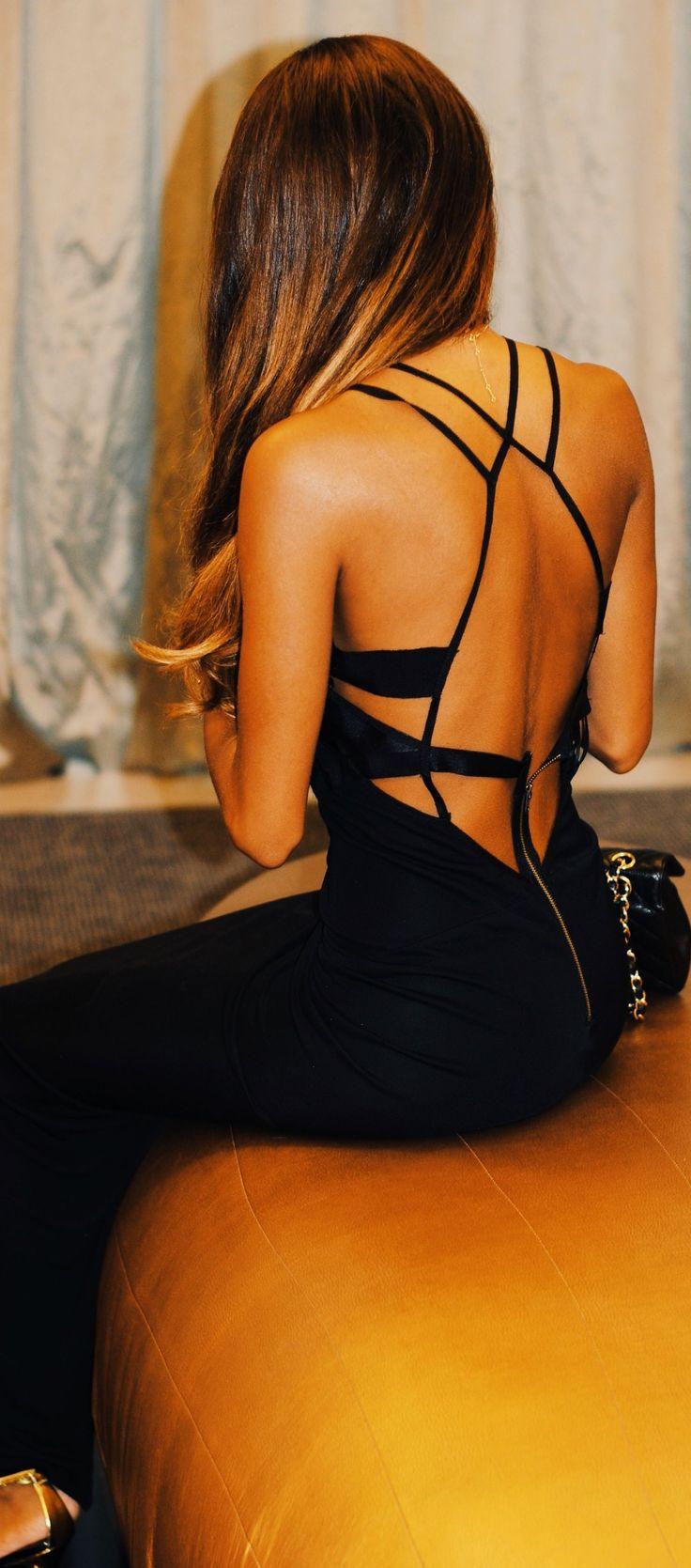 Black Strappy Back Cocktail Maxi Dress