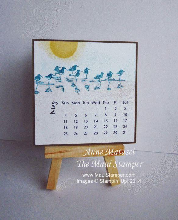 Maui Stamper 2014 Easel Calendar May Shorebirds #diycalendar