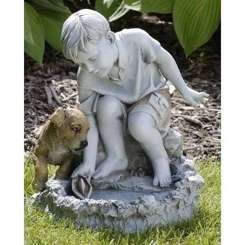 Josephs Studio Boy With Dog U0026 Sailboat Solar Powered Bird Bath Garden Statue