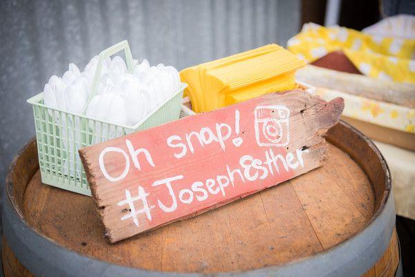 Social media signage idea - wooden sign with hand-painted wedding hashtag {Heidi & Heather Wedding Photography}