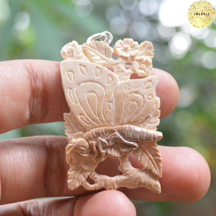 "2"" Hand Carved Butterfly Natural Fossil w 925 silver Bone Carving FM2153 #Handmade #Pendant"