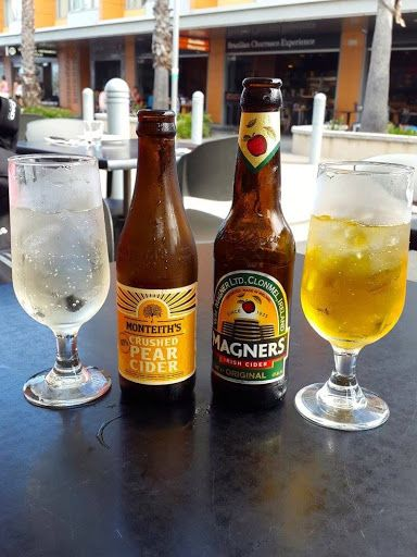 Pear and apple ciders from Hurricane's Grill and Bar Bondi Beach