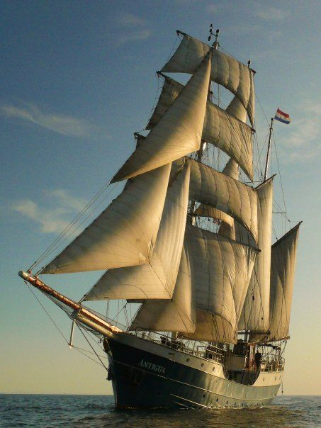 """""""Antigua"""",built in 1957 as a fishing vessel in Thorne. Reconstructed () 1993&1997 to elegant 3-masted barquentine"""