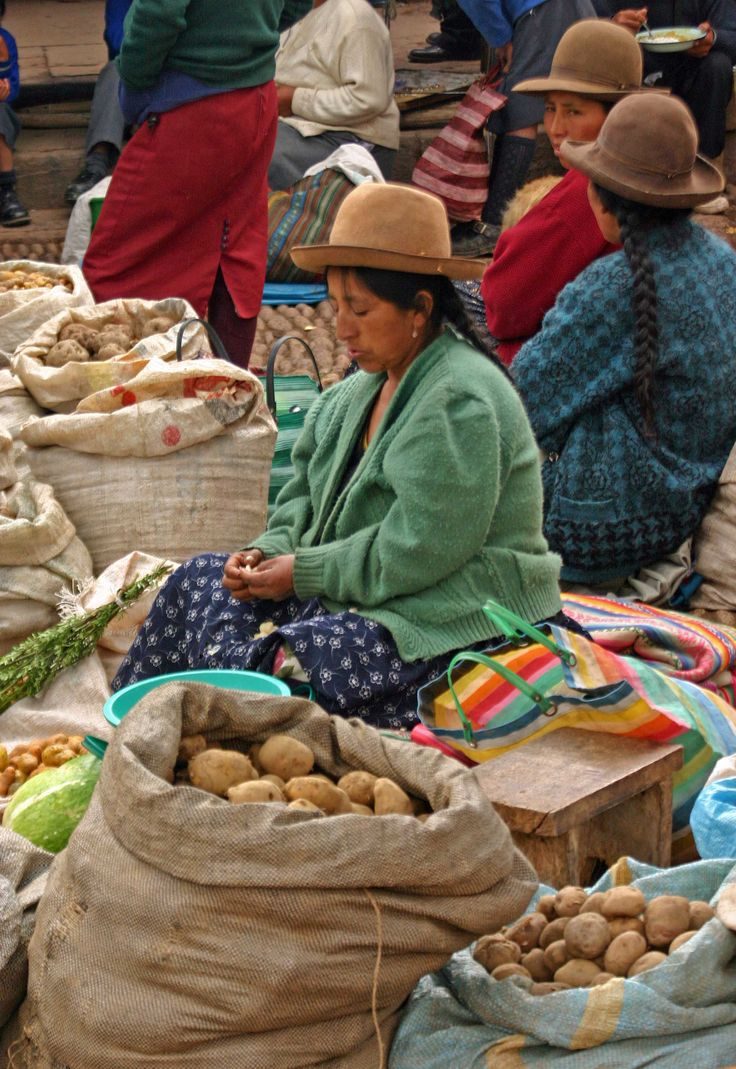 potatoes for sale outdoor market at Pisac Andes Mts, Peru