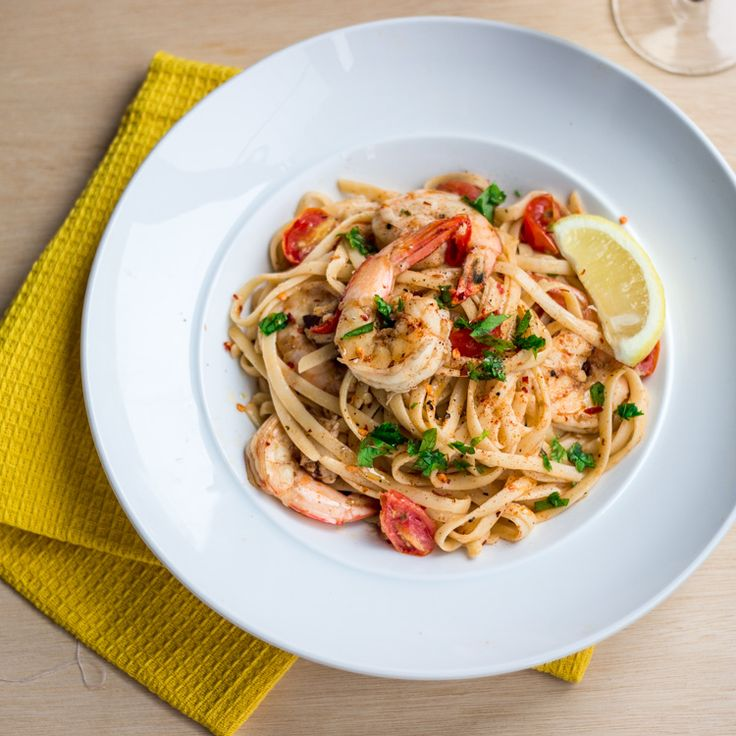 Chilli Prawns Linguine