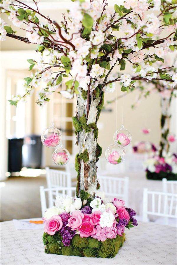 Tall cherry blossom tree centerpiece with pink and purple