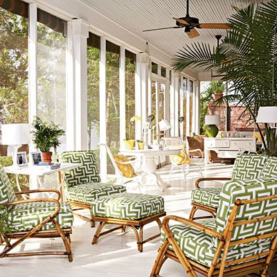 Fresh Ideas for Porches and Decks.Idea Spotlight   If your definition of porch fun is more happy hour than dinner party, furnish the space with several small tables. They multiply your surface area for drinks and snacks.