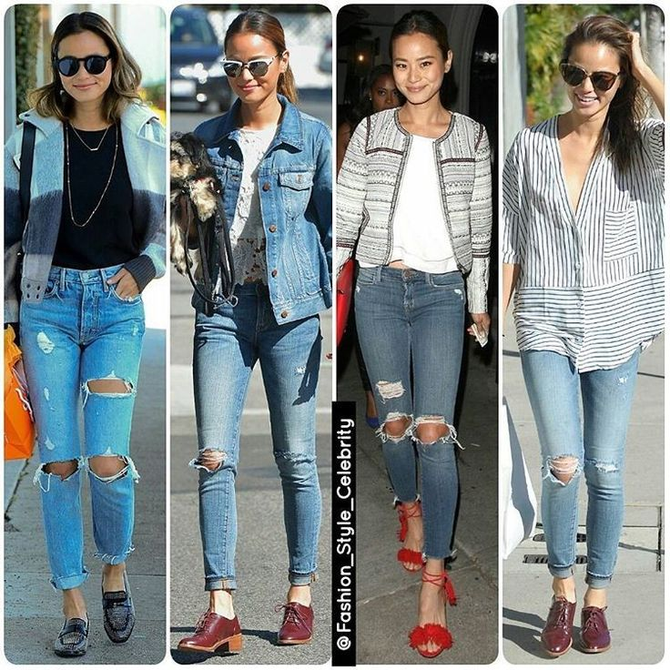 Ripped Jeans Outfit Ideas From #JamieChung#chic #beautiful #heels #fashionista #gorgeous #croptop #glamour #victoriassecret #boots #jeans #fashionweek #candid #coat #clothing #flats #boots #beauty #blackboots #mule #couture #bomber #bomberjacket #legsfordays #allblack #blackoutfit #rippedjeans #momjeans #socialite... - Celebrity Fashion