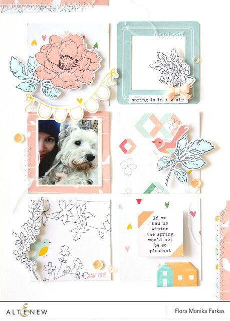 DIY ephemera made with Altenew Beautiful Day Stamp Set and Die featuring Pinkfresh Studio Felicity collection.  by Flóra Mónika Farkas