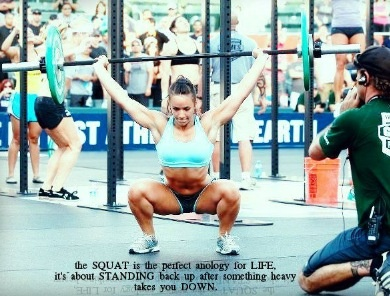 """The squat is the perfect anology for LIFE. Its about standing back up after something heavy takes you down. """