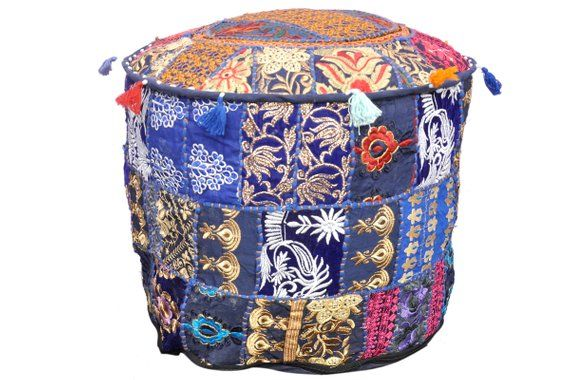 "18/"" Blue Handmade Ottoman Vintage Round Pouf Cover Patchwork Indian Cotton Poufs"