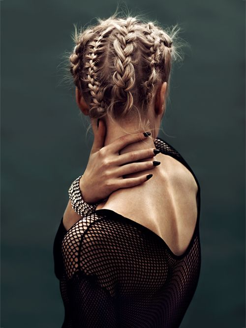 Multi-Width and styled cornrows all about entire head, in vertical rows all around, stopping at nape of neck.