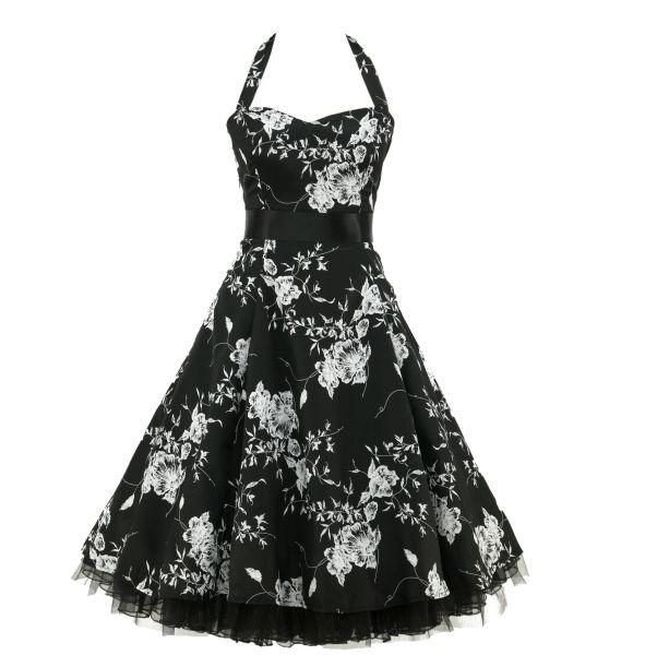 Mollie - Let og feminin sort kjole med hvidt blomsterflor print - den lille sorte med et twist, plus size.