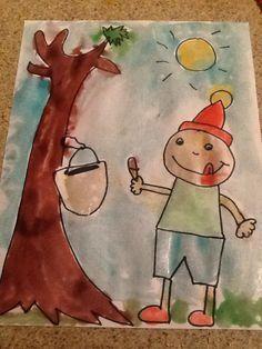 Peinture avec sirop d'érable (ou maïs) et colorant.   Ça prend de petites quantités, laisser sécher à plat.