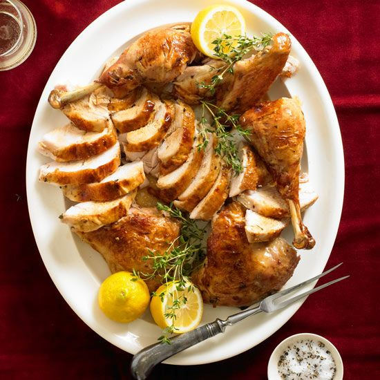 We love this Lemon-Thyme Split Roasted Turkey! Try this new recipe for your turkey this Thanksgiving! More favorite recipes: http://www.bhg.com/christmas/recipes/our-favorite-better-homes-and-gardens-holiday-recipes/?socsrc=bhgpin112613lemonthymesplitroastedturkey&page=1