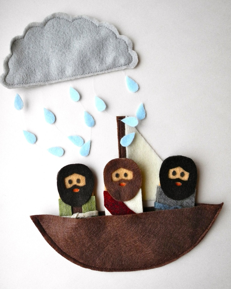 Bible Story finger puppets - Jesus calms the seas, walks on water, Jesus and apostles or disciples. $16.00, via Etsy.
