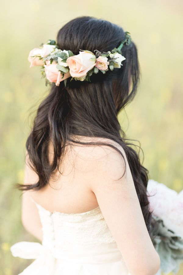 Spring flower crown: http://www.stylemepretty.com/california-weddings/2015/02/04/romantic-vintage-chic-spring-wedding/ | Photography: Koman Photography - http://komanphotography.com/